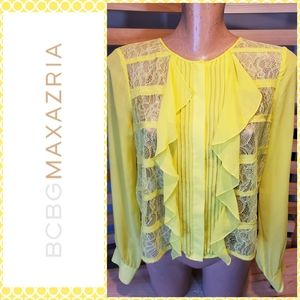 "NEW BCBGMAXAZRIA ""CAIT"" SHEER RUFFLE BLOUSE"